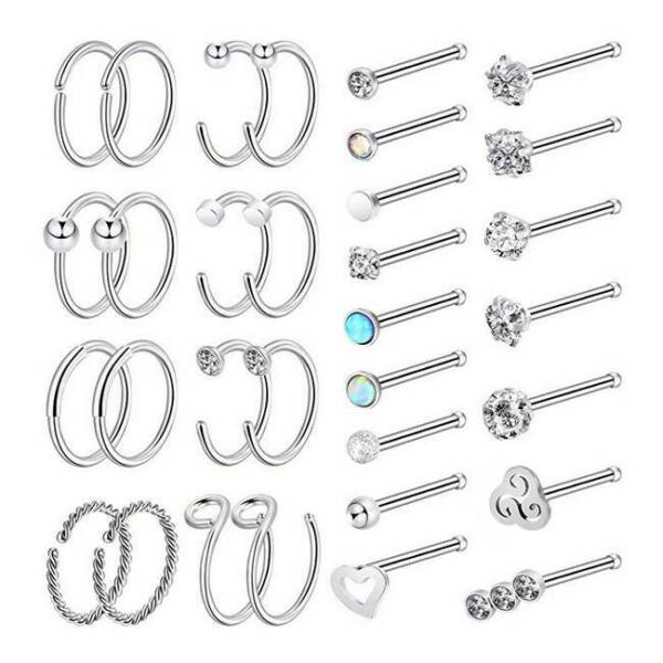 32× Stainless Steel Nose Ring Hoop Set Straight Rod Nose Ear Studs Piercing 20G