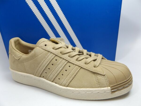 Adidas Superstar 80s Retro Leather Taupe Suede Shoes Mens SZ 9.5 M, NEW, D12448