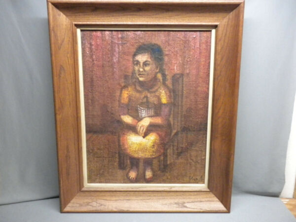 Vintage Oil on Burlap Child in Chair Painting 1930's Signed
