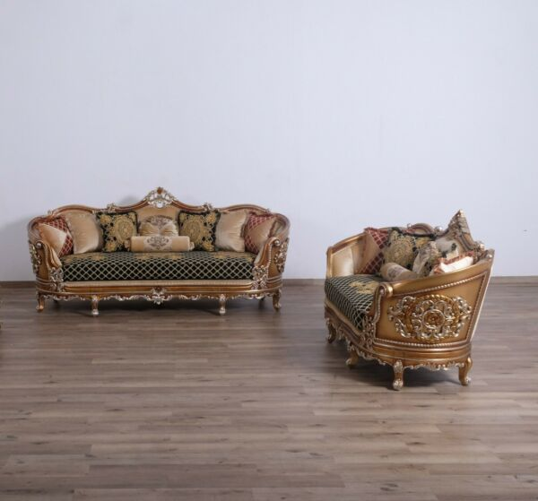 Formal 2 Pcs Sofa & Loveseat Living Room Set 100% Hand Made Carved Furniture