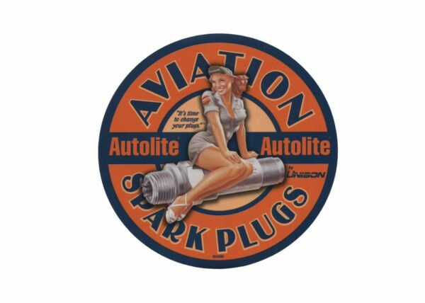Autolite Aviation Spark Plugs Pin Up Girl Decal Vintage Aircraft  DEC-0123