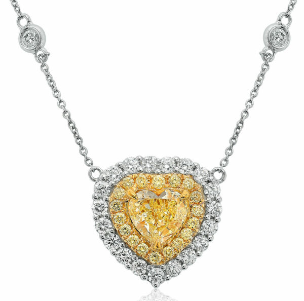 GIA 3.42CT WHITE & FANCY YELLOW DIAMOND 18KT TWO TONE GOLD BY THE YARD NECKLACE