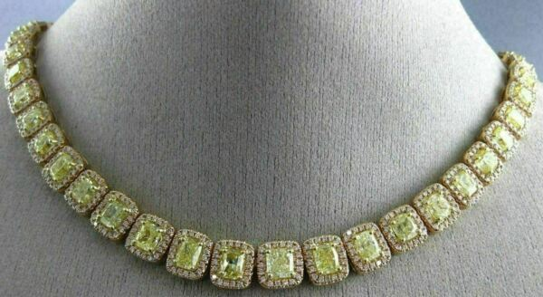 ESTATE 33.72CT WHITE & FANCY YELLOW DIAMOND 18K TWO TONE GOLD ETERNITY NECKLACE