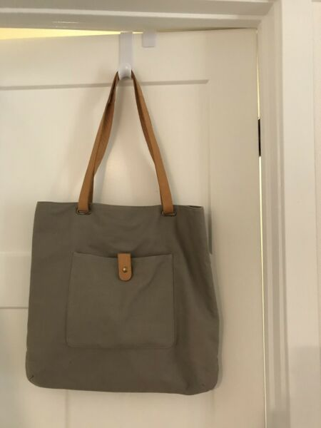 Hearth & Hand with Magnolia Gray Canvas wLeather Convertible Tote Bag!