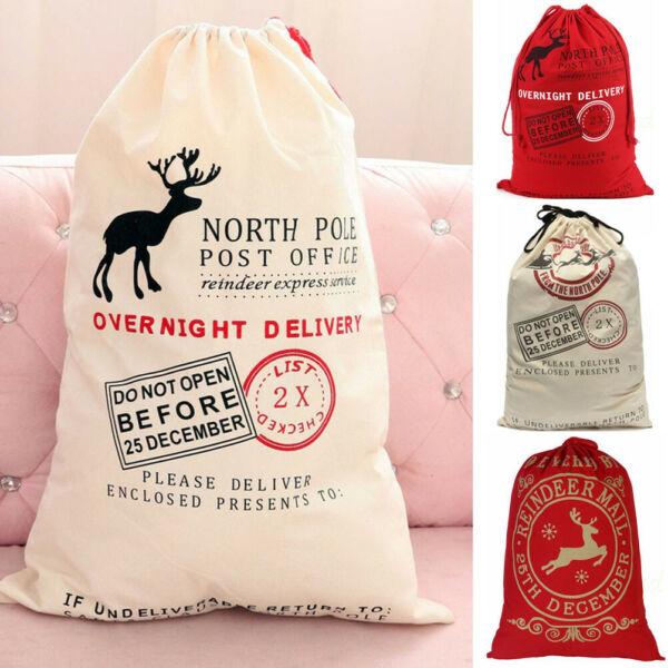 Christmas Santa Sack XMAS Gift Sack Stocking Storage Burlap Bag Wholesale Price!