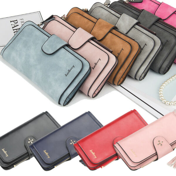 Long Leather Wallet for Women Lady Trifold Card Clutch Phone Bag Purse Handbag $10.99