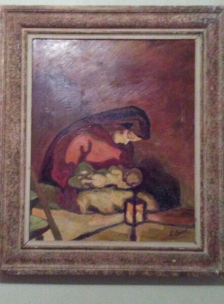 Oil Canvas Painting Signed by E. Sack(1807-1871)Artist Majestic Mother and Child