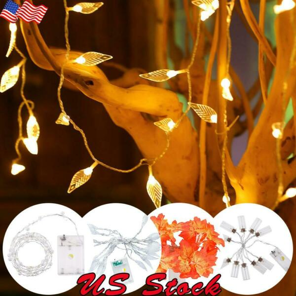 10-40LEDs Battery Operated Leaves Pearls LED Fairy Lights For Wedding Party Home