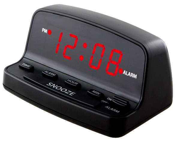Digital Alarm Clock Electric w Battery Backup Keyboard Controls Bright Red LED