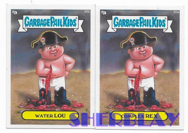 2012 Topps Garbage Pail Kids Series 1 Cards 30a Complex Rex & 30b Water Lou