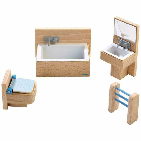 HABA Little Friends Bathroom Set Wooden Dollhouse Furniture for 4quot; Bendy Dolls $19.99