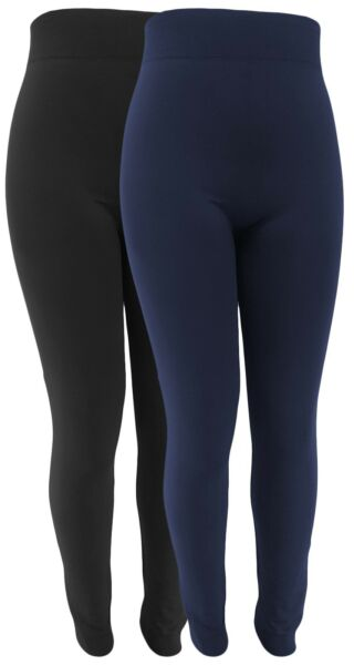 2x Winter-Leggings Damen Thermo-Fleece weicher Bund hohes Hosenteil Komfortgröße