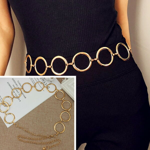 Vintage Gold Circle Waistband Metal Waist Chain Belt Wide Dress High Waist Hip