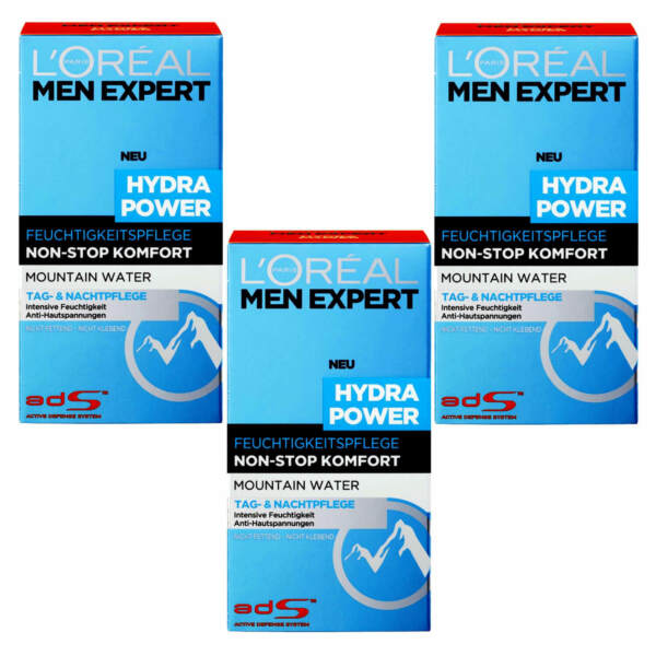 (1804 € 3.4oz) 3x50ml Loreal Men Expert Hydra Power Moisturizing Care Mountain