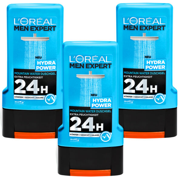 3x 10.1oz Loreal Men Expert Hydra Power Mountain Water Shower Gel 24H Männerduft