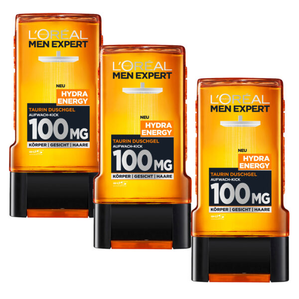(1483 € L) 3x 10.1oz Loreal Men Expert Hydra Energy Taurine Shower Gel 100MG
