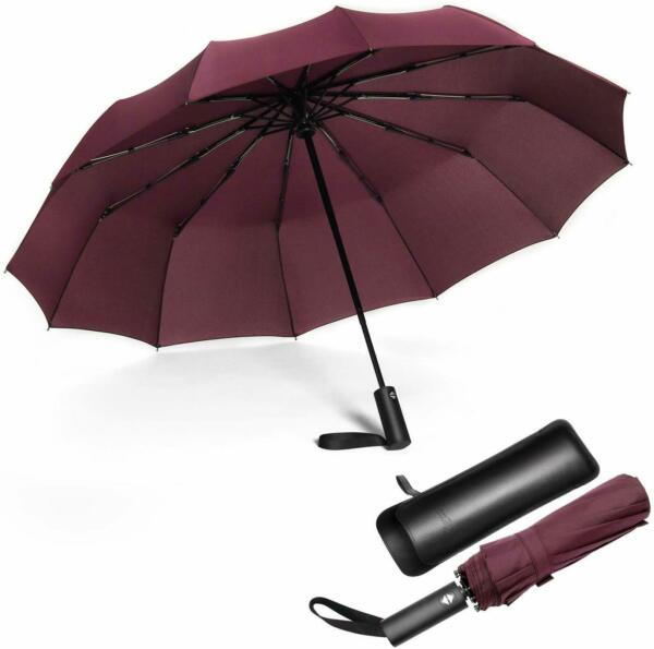 12 Ribs Travel Large Strong Umbrella Automatic Open Close Folding SunRain Red