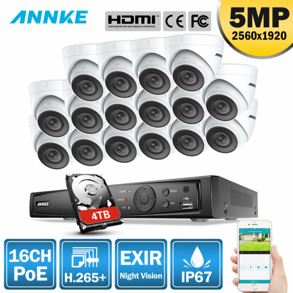 ANNKE 16CH 4K NVR POE Ultra HD 5MP Outdoor Security Camera System IP Network APP