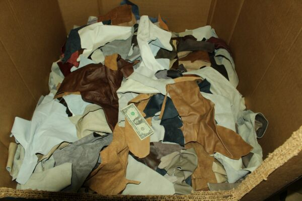 Mixed Colors Cowhide Scrap Leather Pieces  10 LB Box Currently FREE SHIPPING