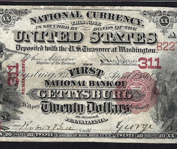 PA 1875 $20 ♚♚GETTYSBURG PENNSYLVANIA♚♚ PMG VF25  ONLY KNOWN!! VERY RARE!!!