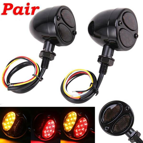 Motorcycle LED Black Bullet Brake Running Turn Signal Tail Light For Bobber Cafe