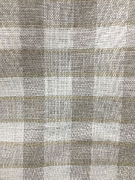 NATURAL IVORY Plaid 100% Linen Fabric 60 in. Sold By The Yard