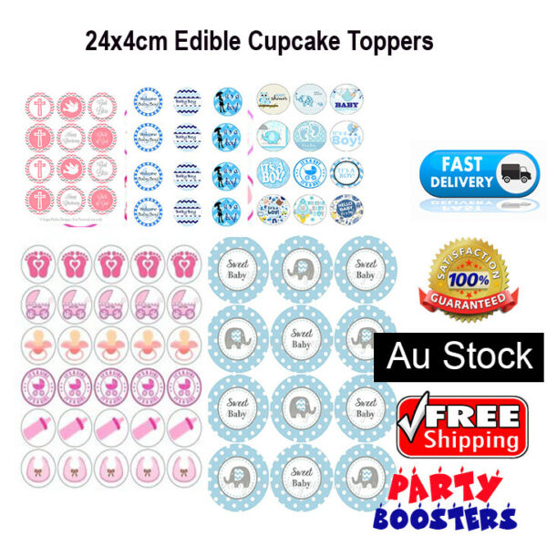 24 Christening Baby Cupcake Cake Topper Edible Wafer Paper Photo Topper Baptisma