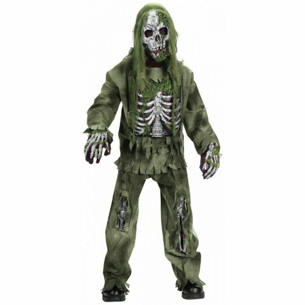 Skeleton Zombie Costume Kids Scary Graveyard Monster Outfit