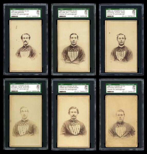 1866 E.S. Sterry & Co Lansingburgh UnionsTroy Haymakers CDVs 1st Baseball Cards