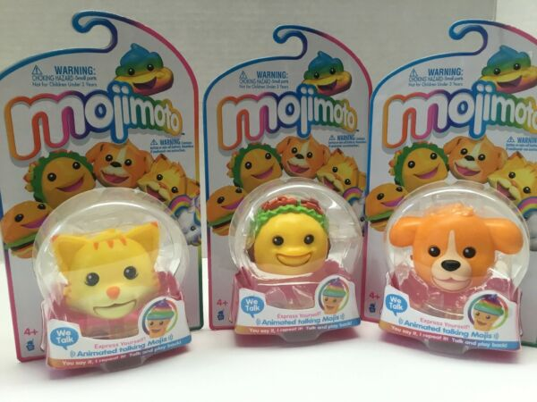MOJIMOTO Kitty Cat Puppy Dog amp; Taco Animated Talking Emoji Keychain SET OF 3 $24.90