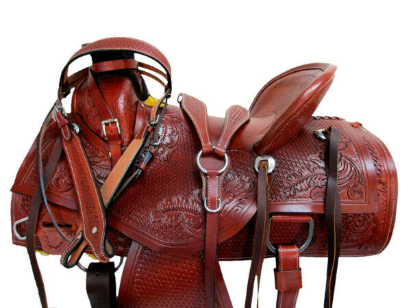 PREMIUM TOOLED RANCH ROPING WESTERN SADDLE WADE TREE USED LEATHER TACK 15 16 17