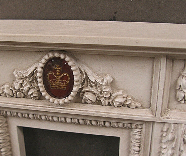 FIREPLACE ~ VINTAGE  GLASS CROWN VICTORIA ~ Dollhouse ~ Distressed ~ 1:12 scale
