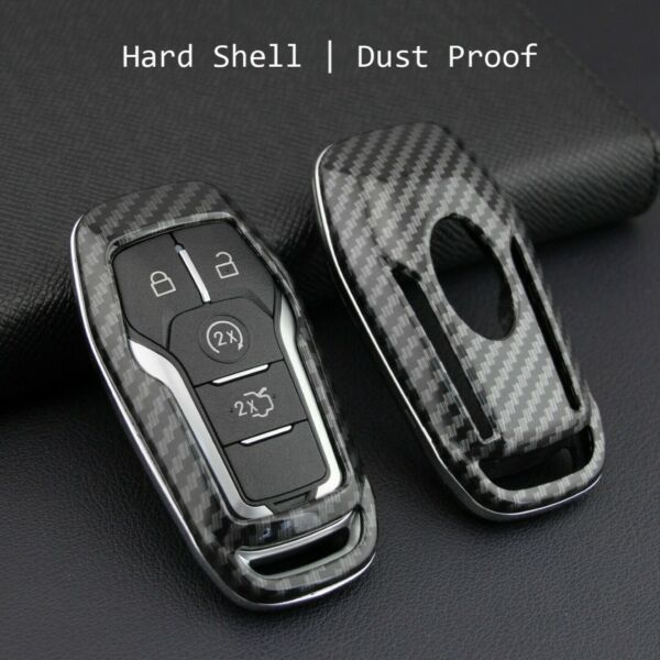 Carbon Fiber Hard Smart Key Cover Fit For Ford Lincoln Accessories Chain Holder