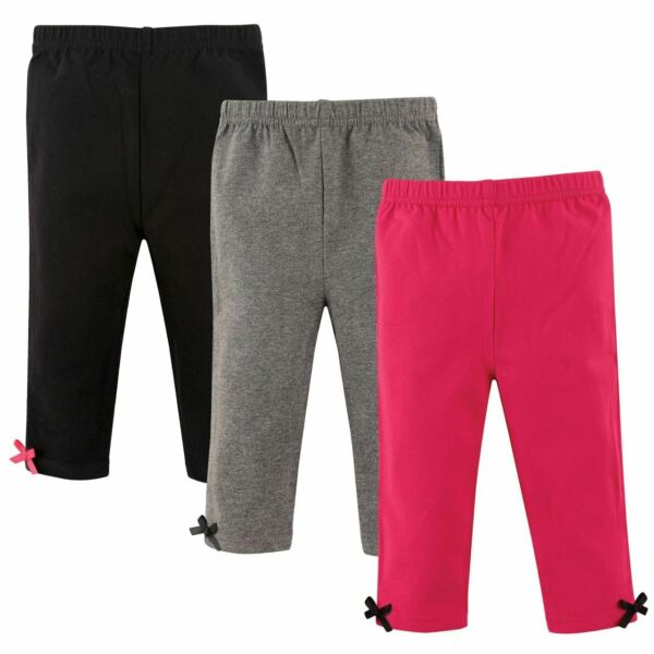 Hudson Baby Girl Baby Leggings with Ankle Bows 3 Pack Pink and Gray $9.99