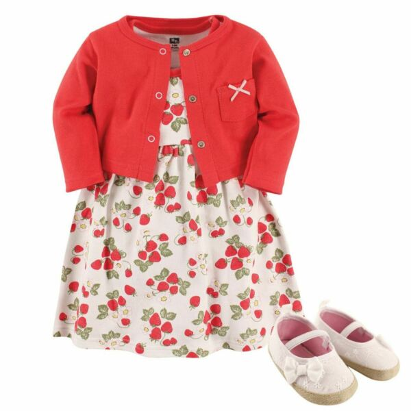Hudson Baby Girl Dress Cardigan and Shoes 3 Piece Set Strawberries $13.99