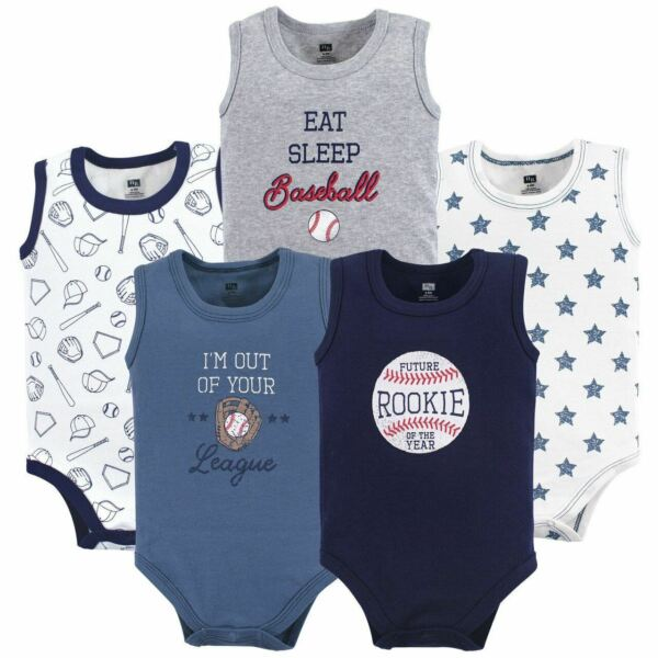 Hudson Baby Boy Sleeveless Bodysuits 5-Pack Baseball