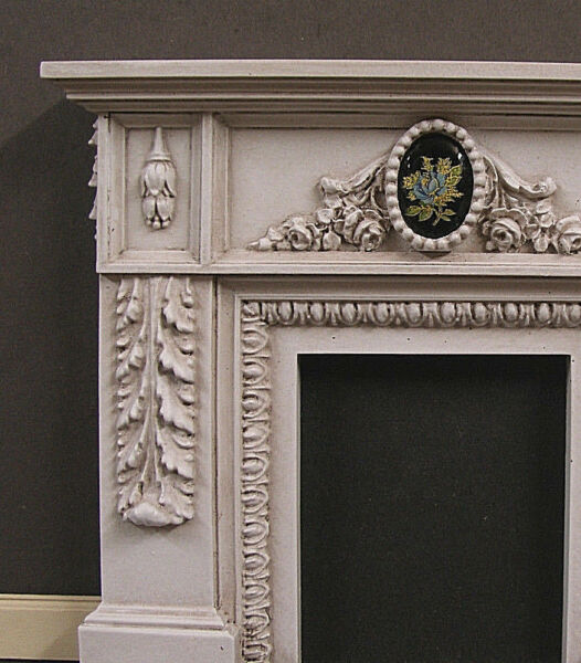 FIREPLACE ~ VINTAGE  GLASS FLORAL ~ Dollhouse~ Distressed ~ 1:12 scale ~Room Box