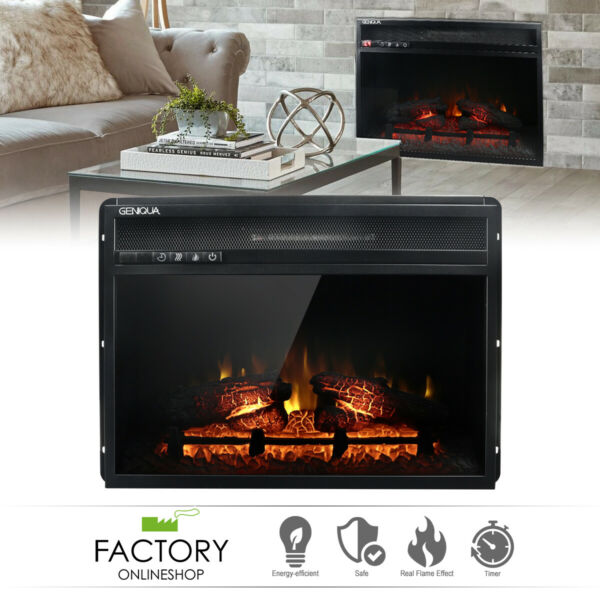 Wall Insert 1400W Electric Fireplace Heat w Remote LED Flame Timer Heater