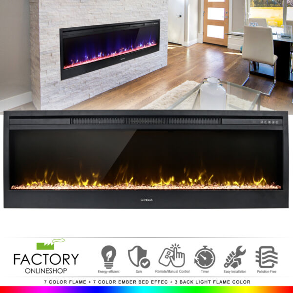 58quot; Electric Fireplace Heat Insert Wall Heater Adjust 3D Crystal Flame Remote