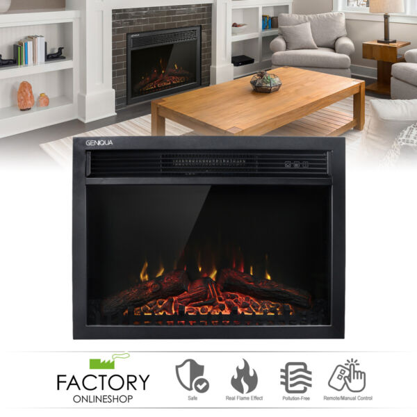 Wall Insert Freestand Electric Heat Fireplace Heater w Remote LED Log Flame