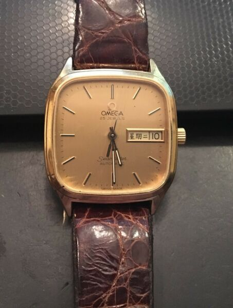 VTG Men's Omega Seamaster Watch Automatic 25 Jewels Gold Tone DateDay Repai