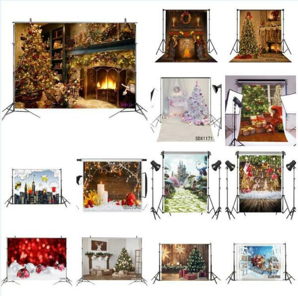 US Christams Backdrop Xmas Tree Fireplace Background Photography Studio Props
