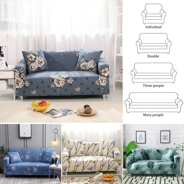 1 2 3 4 Seater Stretch Sofa Cover Floral Couch Cover Elastic Slipcover Protector