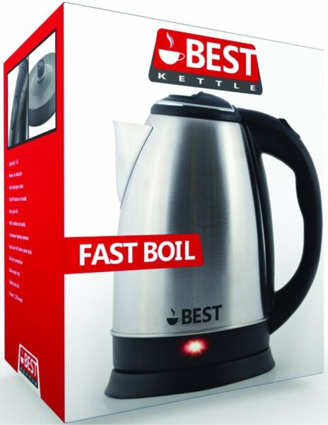 Electric Tea Kettle Coffee Pot Hot Water FAST BOIL Cordless Stainless Steel 2.0L $24.99