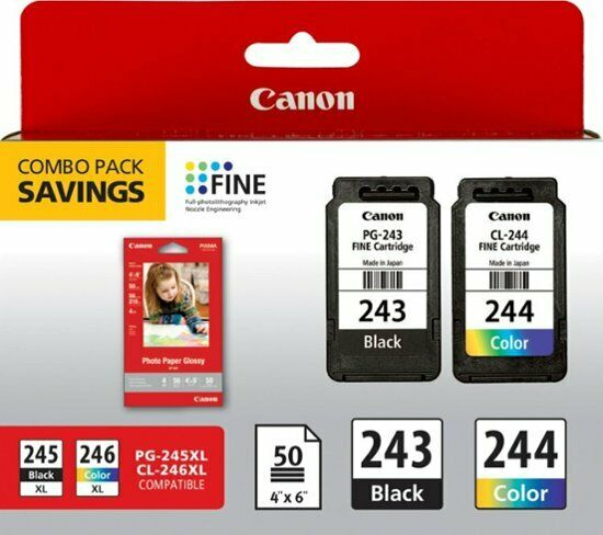 Canon PG 243 and or CL 244 Original Black and Color Genuine Ink Cartridges