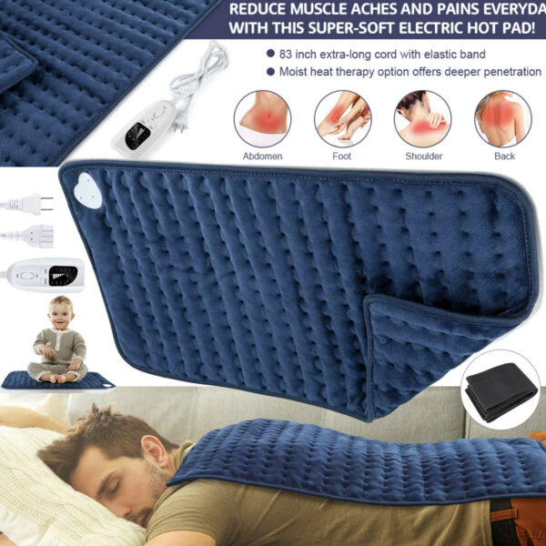 Electric Heating Pad King Size XL Fast Neck Shoulder Back Pain Relief Therapy US