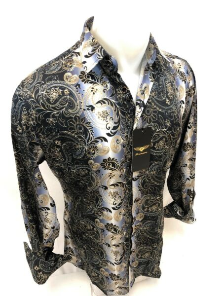 Men PREMIERE Long Sleeve Button Up Dress Shirt SILKY GRAY BLACK GOLD PAISLEY 646