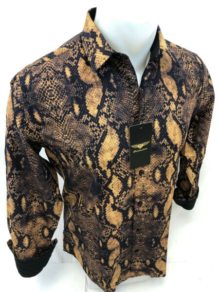 Men PREMIERE REPTILE SNAKESKIN Long Sleeve BUTTON UP Dress Shirt BROWN BLACK 660