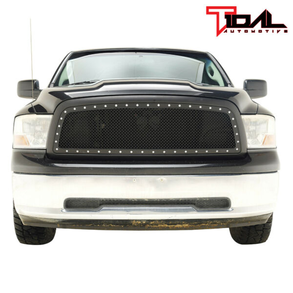 Tidal Replacement Mesh Grille Upper Black Grill Fit 2009 2012 Dodge Ram 1500