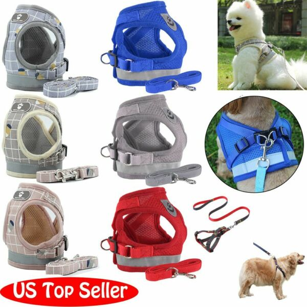 Small Dog Pet Puppy Harness And Leash Set Breathable Mesh Vest Chest Strap XS XL $8.99